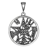 Sterling Silver Tetragrammaton Pentagram Pagan Wiccan Pendant - Large