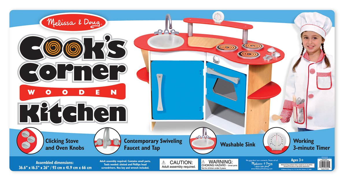 Amazon.com: Melissa & Doug Cook's Corner Wooden Kitchen: Melissa ...