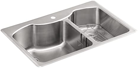 "KOHLER K-3844-1-NA Octave 33"" x 22"" Top-Mount Large/Medium Double-Bowl Kitchen Sink with Single Faucet Hole, Stainless Steel"