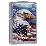 Zippo Mazzi Bald Eagle with Flag Pocket Lighter, Street Chrome (Color: Street ChromeClaudio Mazzi, Tamaño: 5 1/2 x 3 1/2 cm)
