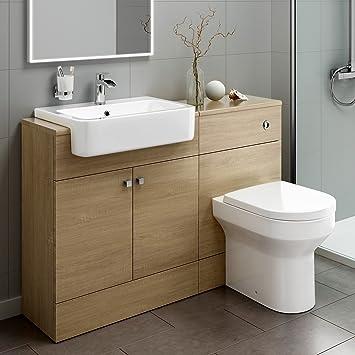 1160mm Luxury Oak Wood Toilet + Sink Vanity Unit Bathroom Storage Furniture Set MV2003