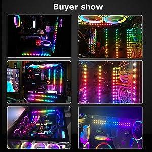 ALITOVE Addressable RGB LED Strip for PC, 5V WS2812B Rainbow