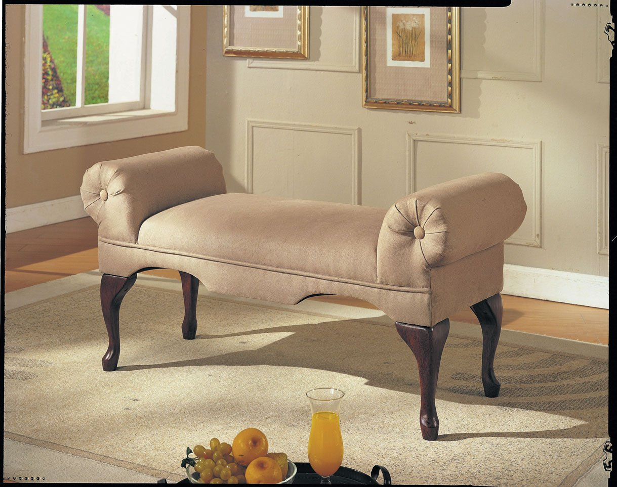 Bedroom bench with arms - Acme Aston Microfiber Rolled Arm Bench In Beige Finish