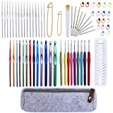 DABHAND 72 Pcs Crochet Hooks Set, Crochet Hooks Kit Plus Large-Eye Blunt Needles Ergonomic Yarn Knitting Needles Marking Clips Tools Set with Crochet Accessories (Color: Scoltp-151, Tamaño: Ssiz.nm-5648)