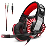 Gaming Headset for Xbox One Ps4, Gamer Headphone with Mic, Over Ear Bass Stereo, Noise Reduction Microphone, LED Light and Volume Control for PC, Nintendo Switch/3DS, Laptop, Mac, Pad, Smartphone (Color: Red, Tamaño: 8.27*4.33*8.66 in)