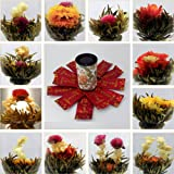 Blooming Tea Flower Balls Enchanting Beauty Organic Natural Hand-made Scented 12PCS (Color: See Picture, Tamaño: 12PCS)