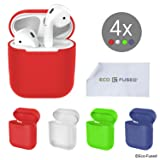 Protective Covers for Apple AirPods Case - 4-Pack (Red, Blue, Green and Transparent) - Silicone Skins - Protects the Case of Your AirPods from Scratches and Shocks - Offers Better Grip - Seamless Fit