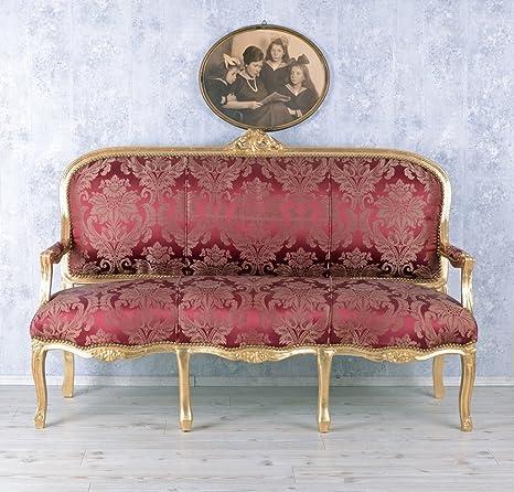 Gigantisches Rokoko Sofa, Diwan, Kanapee, Ottomane, Liege mit königlichem Ambiente im Rokoko-Stil in Rot - Palazzo Exclusive