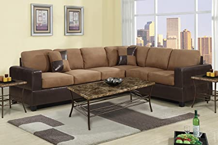 2 Piece Classic Large Microfiber and Faux Leather Sectional Sofa with Matching Accent Pillows - Colors Hazelnut Brown, Chocolate, and Red (Hazelnut)