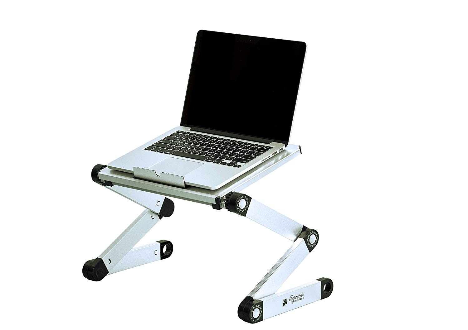 Executive Office Solutions Portable Adjustable Aluminum Laptop Desk/Stand/Table Vented Notebook-Macbook-Ultra Light Weight Ergonomic TV Bed Lap Tray Stand Up/Sitting-Silver