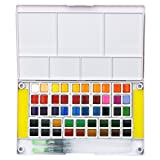 MISULOVE Watercolor Paint Set - 48 Assorted Vibrant Colors with Brushes Pen, Mixing Palette, Professional Travel Watercolor Kit, for Artists, Art Painting, Watercolor Techniques and More (Color: 48 colors)