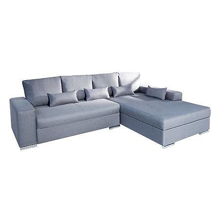 Sofa VINCENZA hellgrau mit Bettfunktion Schlafsofa Couch Wohnzimmer Federkern Wohnlandschaft