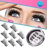 Magnetic Eyelashes Dual Magnet Glue-free 3D Reusable Full Size Premium Quality Natural False Lashes - 2018 (Tamaño: 8 PCS)