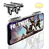 Fortnite PUBG Mobile Game Controller-Sensitive Shoot, Transparent Aim Keys L1R1 Shooter Joysticks Aim Buttons & Cell Phone Game Controller for Android IOS (1 Pair) (Color: Dark Black)