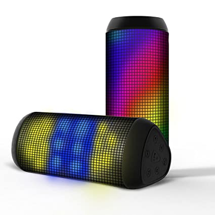 RoyQueen T900 haut-Parleur Bluetooth sans fil avec LED 5 différents effets de lumière) Connexion NFC pour Appareils compatibles :  Compatible avec tous les appareils Bluetooth sur une portée de 10 m-Carte SD entrée