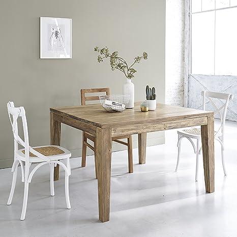Table carrée en bois de TECK RECYCLE 120cm avec rallonges