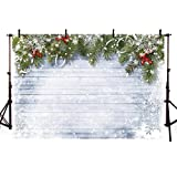 COMOPHOTO Christmas Photography Backdrops 7x5ft Wood Wall White Snow Children Portraits Photo Background for Photographic Props (Color: Christmas Snowflake, Tamaño: 7x5ft)