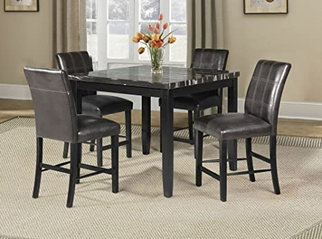 5 pc Blythe collection square black finish wood and faux marble top counter height dining table set with leather like vinyl seating