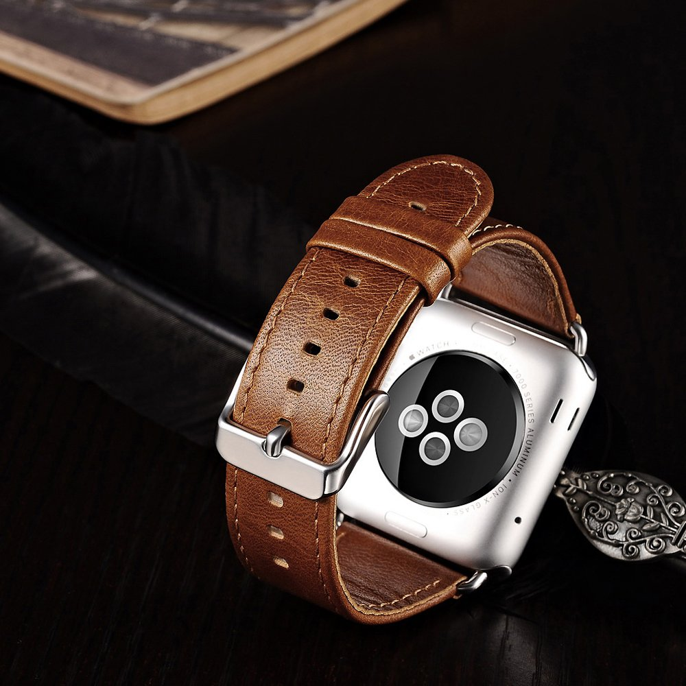 Apple Watch Leather Band, Icarercase Vintage Series Genuine Leather Watchband Strap Replacement iWatch Wristband Link Bracelet with Secure Metal Clasp Buckle for Apple Watch (Brown for 42mm) 5