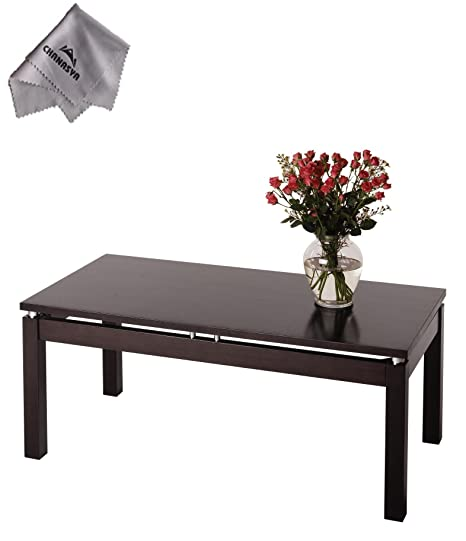 Linea Coffee Table with Chrome Accent and With Chanasya Polish Cloth