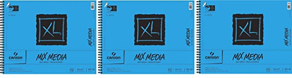 Canson XL Mix-Media Paper, 98 lb, 14 x 17 Inches, 60 Sheets - 100510930 (?hr?? P?ck, White) (Color: White, Tamaño: ?hr?? P?ck)