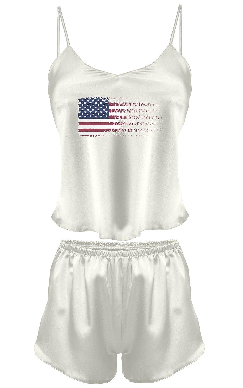 Dkaren-Nachtwäsche Wäsche Set aus Satin Karen Druck 38 -USA- (XS – 2XL)