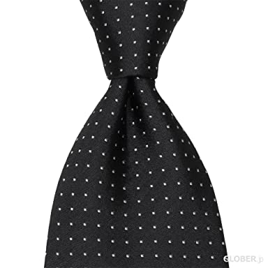 Satin Pin Spot Tie: Black