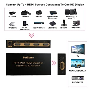HDMI Switch 4×1 with PIP Auto Switch Off/On HDMI Switcher Hub Port Switches 4 In 1 Out HDMI Switcher Selector with Remote Controller Support HDCP Full HD 4K 3D 1080P by DotStone