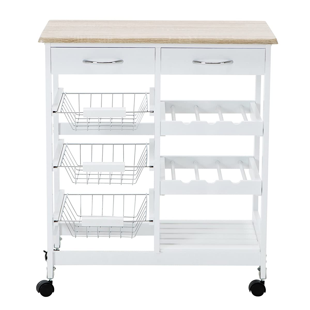 4 Family Kitchen Trolley Island Cart Portable Rolling