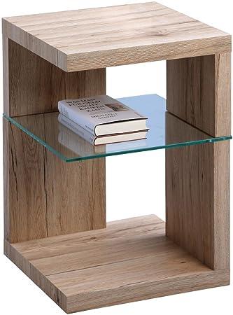 Dreams4Home Beistelltisch 'Verda' Holz Sanremo Glas 40x60 cm Tisch Ablage Sofatisch Ablägefläche Wohnzimmertisch