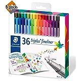 Staedtler Color Pen Set, Set of 36 Assorted Colors (Triplus Fineliner Pens) - 5 Pack