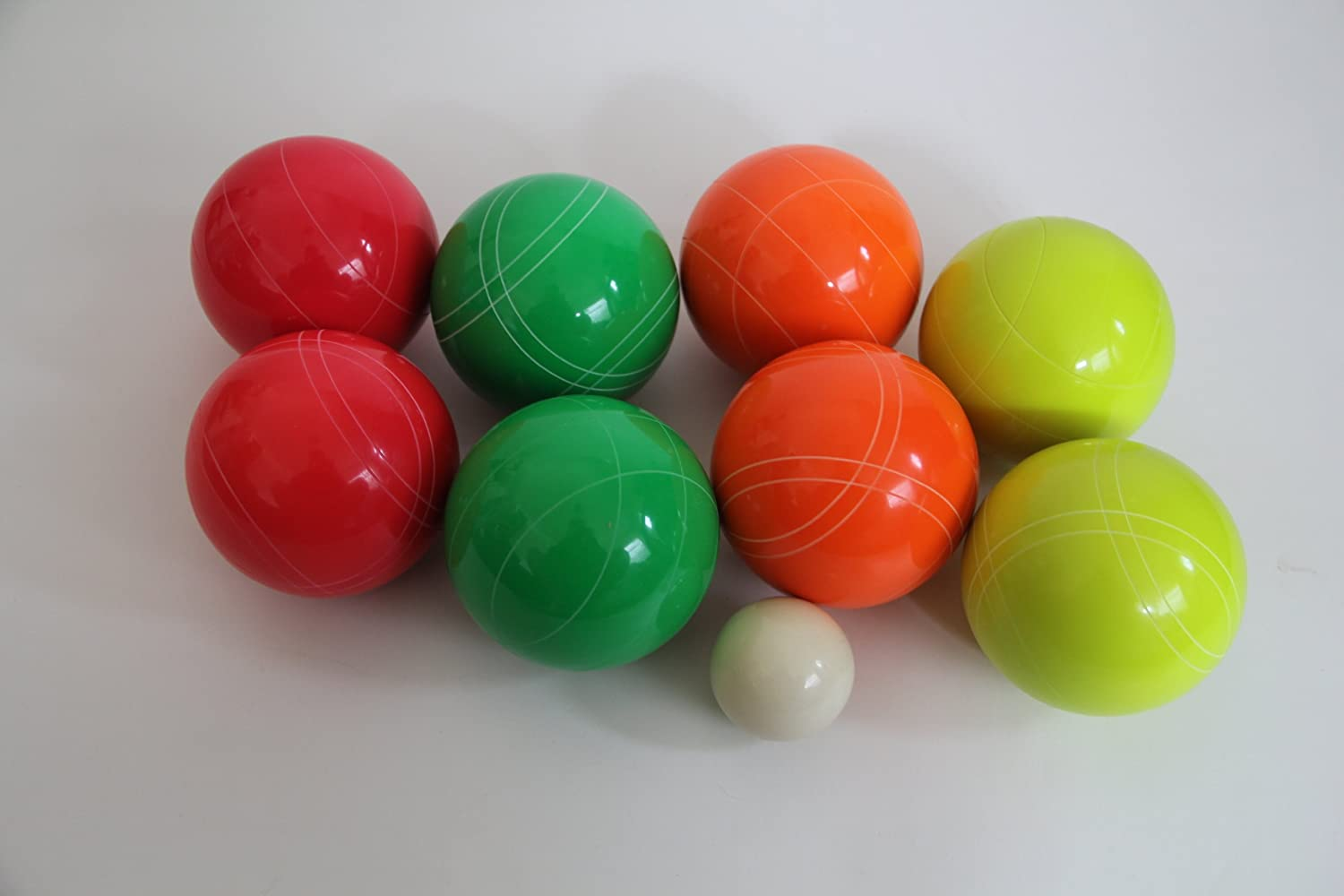 Premium Quality EPCO GLO Tournament Bocce Set - 110mm Green, Red, Yellow, Ora...