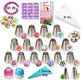 RFAQK - 50 Pcs Russian Piping Tips Set- 15 Numbered, Easy to Use Icing Nozzles - 2 Leaf Tips - 2 Couplers -30 Icing Bags -1 Pastry Bag- Pattern Chart,E.Book User Guide, cupcake decorating Kit supplies (Tamaño: 50 PCS)