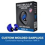 Decibullz Custom Molded Earplugs, 31dB Highest NRR, Comfortable Hearing Protection for Shooting, Travel, Swimming, Work and Concerts (Blue) (Color: Blue, Tamaño: Decibullz - Custom Molded Earplugs, 31dB Highest NRR, Comfortable Hearing Protection for Shooting, )