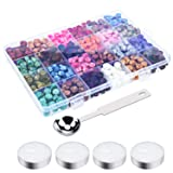 Livder 624 Pieces Octagon Sealing Wax Beads with 4 Pieces Candles and a Wax Spoon for Wax Seal Stamp, 24 Colors (Color: Multicoloured)
