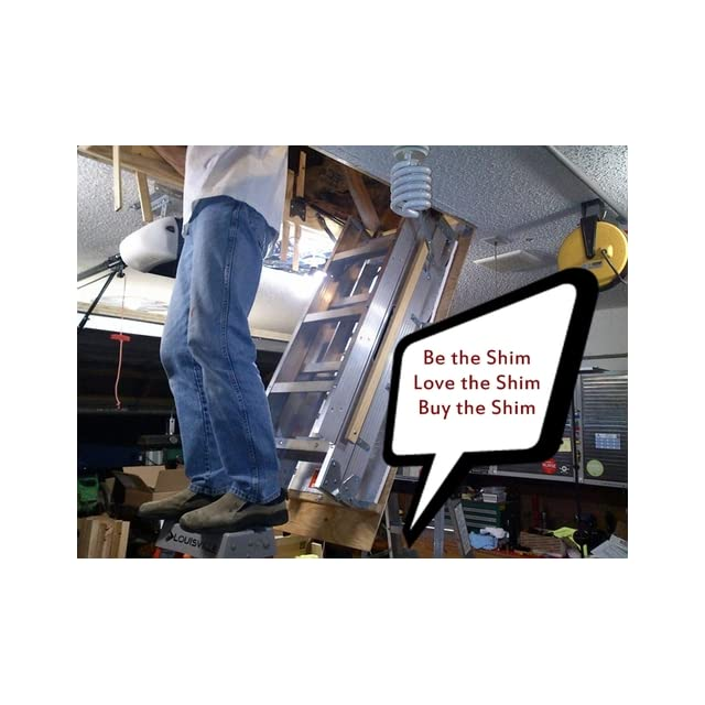 Louisville Ladder AA229GS Elite Aluminum Attic Ladder 350 Pound Capacity 22.5 Inch by 54 Inch Opening Ceiling Height 7 Foot 9 Inches to 10 Foot