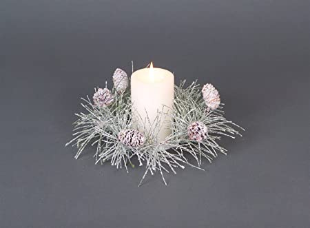Artificial Iced Pine Cone Evergreen Candle Ring by Melrose