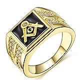 Songdetao 18K Gold Plate Men's Masonic Black Lodge Mason Crystal Freemason Rings Sz 11 (Color: Black)