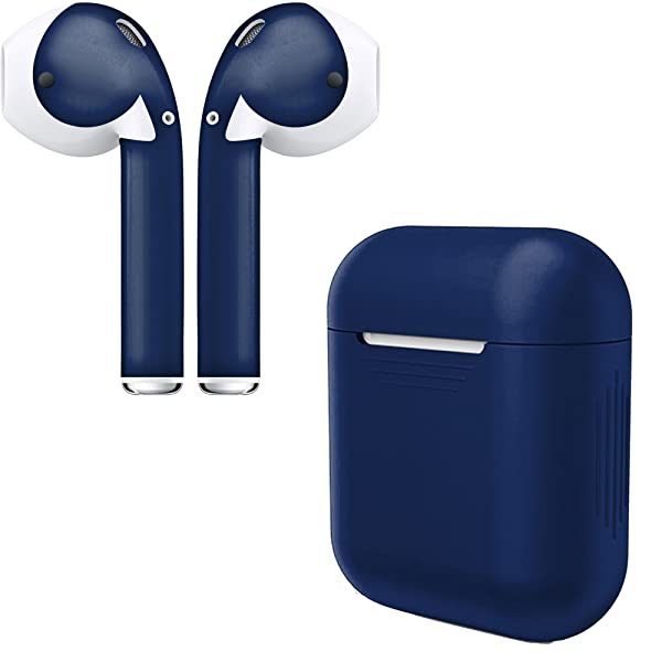 AirPod Skins & Charging Case Cover – Protective Silicone Cover and Stylish Wraps Bundle Compatible with Apple AirPods (Midnight Blue Case & Skin) (Color: Midnight Blue Case & Skin)