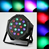 RGB 18×3W LED PAR Party Lights DJ Disco Lights Sound Activated DMX-512 Stage Lighting for Wedding KTV Show Club Bar Karaoke (1PCS) (Color: 1PCS)