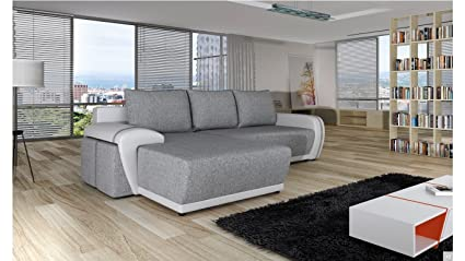 New Stock - 2015 Model - BMF 4U - FOR YOU - CORNER SOFA BED + 2 SMALL POUFS WITH STORAGE CONTAINER & SLEEPING FUNCTION - Faux Leather Fabric - Left Facing - GOOD PRICE !!!