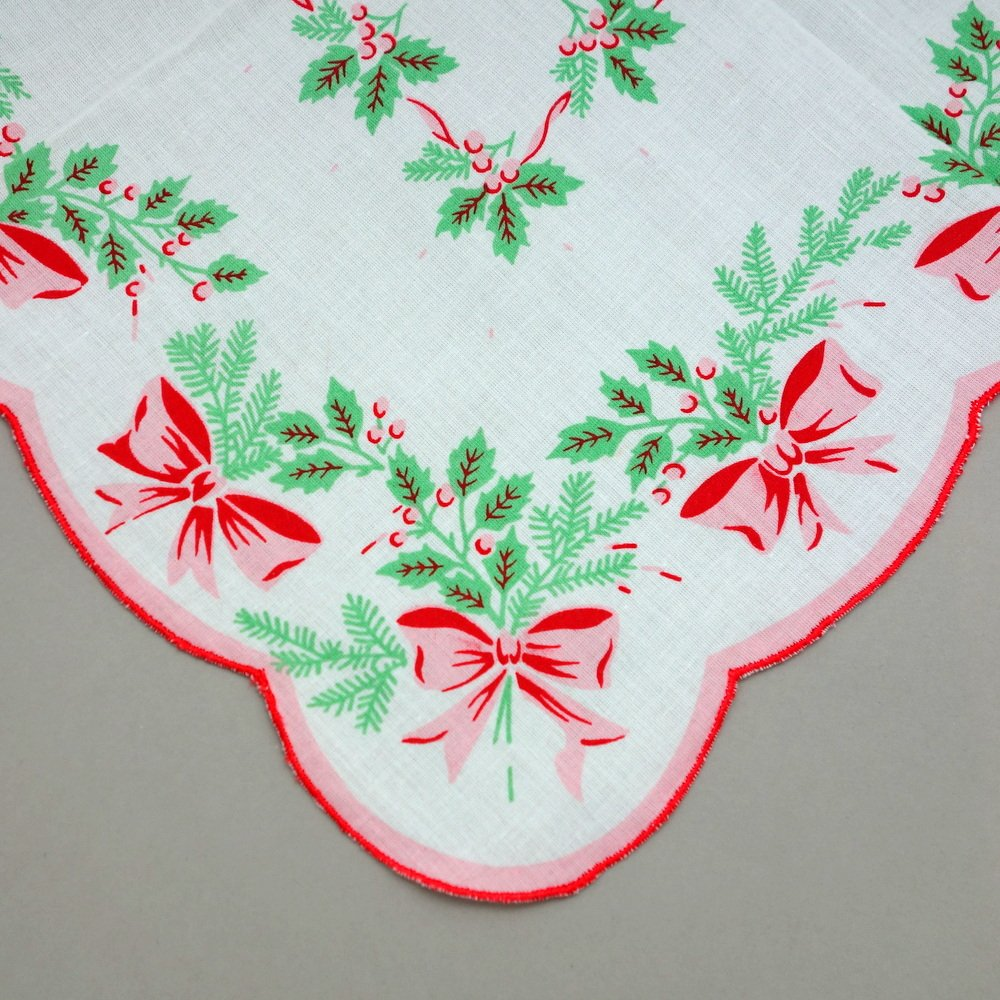 Holiday Christmas Red Green Cotton Ladies Print Handkerchiefs Hankie Hanky- Set of 3 2