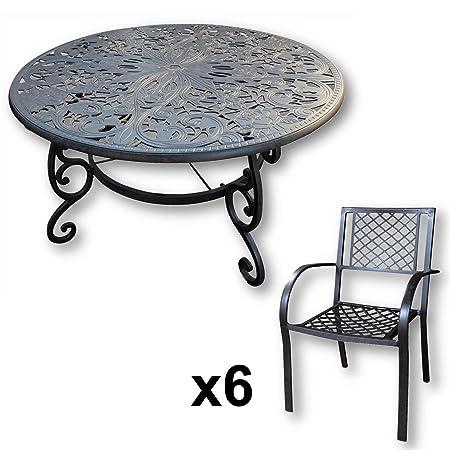 Lazy Susan - JOYCE 135 cm Runder Gartentisch mit 6 Stuhlen - Gartenmöbel Set aus Metall, Antik Bronze (JANE Stuhle)