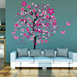 ElecMotive Huge Size Cartoon Heart Tree Butterfly Wall Decals Removable Wall Decor Decorative Painting Supplies & Wall Treatments Stickers for Girls Kids Living Room Bedroom (Color: Pink)