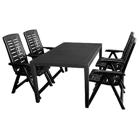 5tlg. Sitzgruppe Gartengarnitur Terrassenmöbel Gartenmöbel Campingmöbel Set - Gartentisch, 150x90cm + 4x Klappstuhl, 5-Positionen verstellbar - Kunststoff