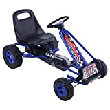 Costzon Go Kart, 4 Wheel Pedal Powered Ride On, Outdoor Racer with Adjustable Seat, Rubber Wheels, Brake, Ride On Pedal Car for Boys, Girls (Blue) (Color: Blue, Tamaño: 41.5