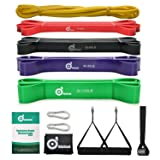 Odoland 5 Packs Pull Up Assist Bands, Pull Up Straps, Resistance Bands with Door Anchor and Handles, Stretch Mobility, Powerlifting and Extra Durable Exercise Bands with eGuide (Color: Multicolor, Tamaño: 5 Bands Set)