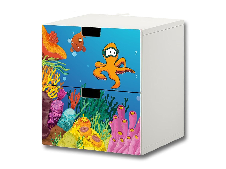 """""""Unterwasserwelt"""" Möbelsticker / Aufkleber – S2K03 – passend für die Kinderzimmer Kommode mit 2 Fächern / Schubladen STUVA von IKEA – Bestehend aus 2 passgenauen Möbelfolien (Möbel nicht inklusive) jetzt kaufen"""