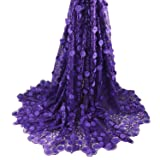 Aisunne African Lace Fabrics 5 Yards Nigerian French Lace Fabric with 3D Flower Fashion Embroidered Beading and Sequin for Wedding Party Dresses (Purple) (Color: Purple)