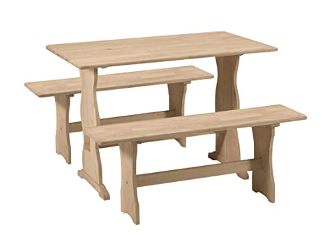 International Concepts Trestle Table with 2 Benches, Unfinished